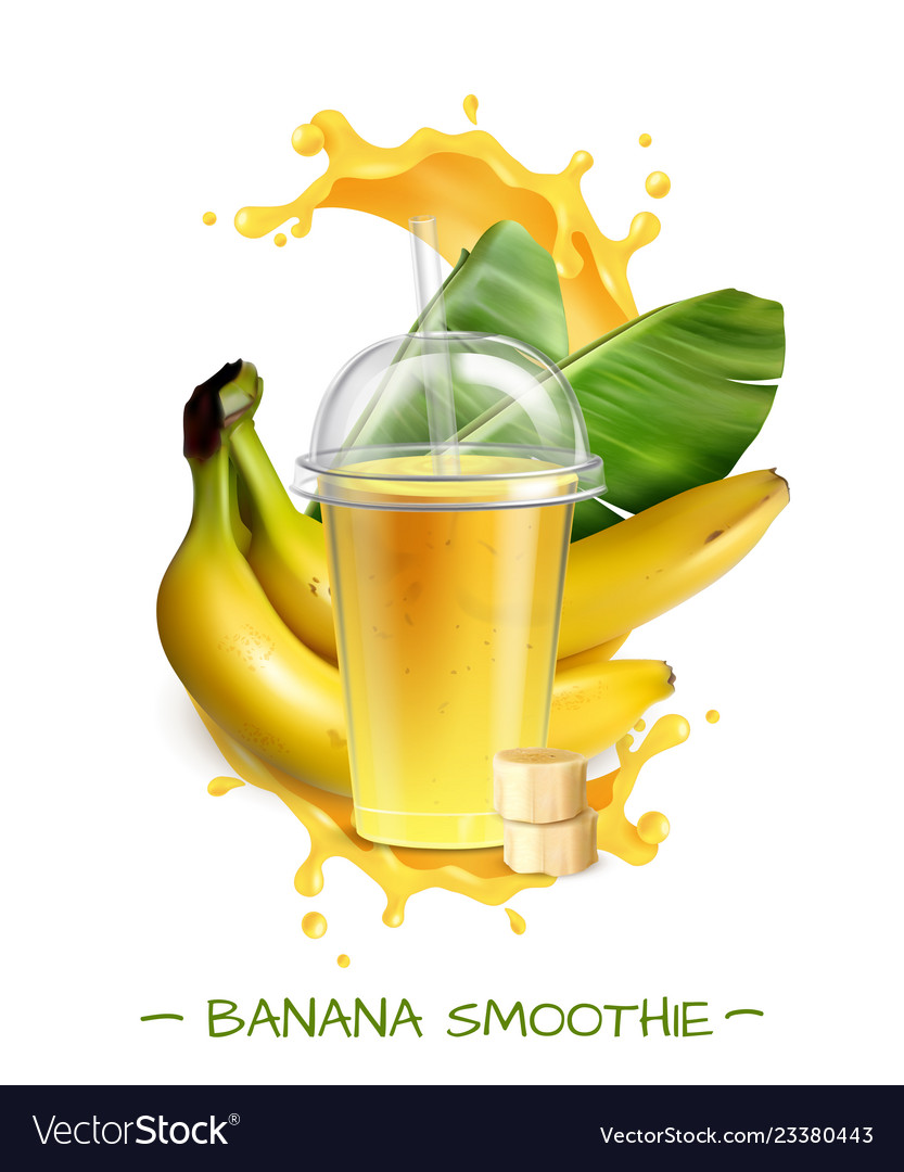 Banana smoothie realistic composition