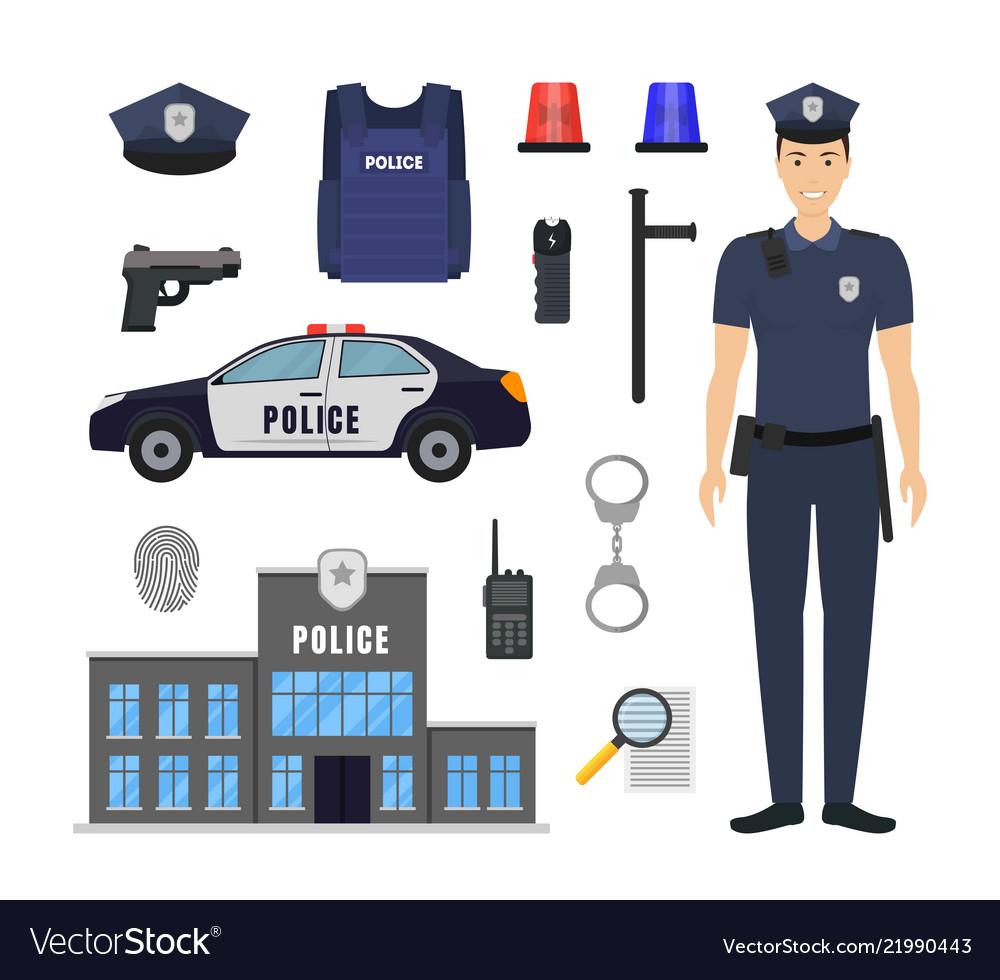 Cartoon color policeman and police elements icon