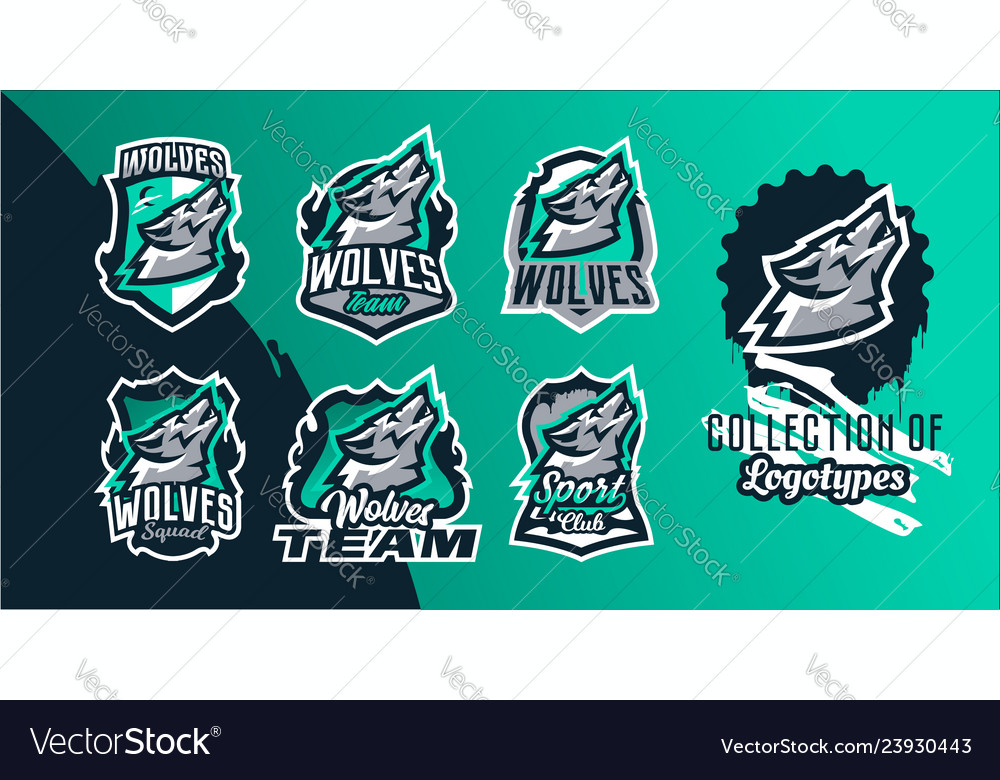 Collection of colorful emblems of the howling wolf