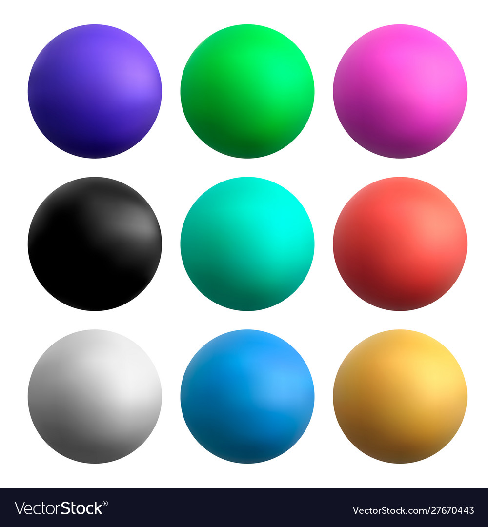 Colored balls on a white isolated