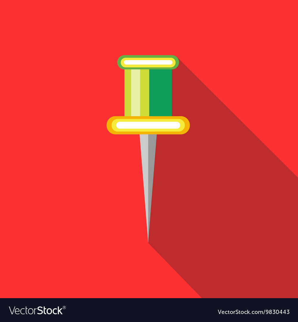 Colorful push pin icon in flat style