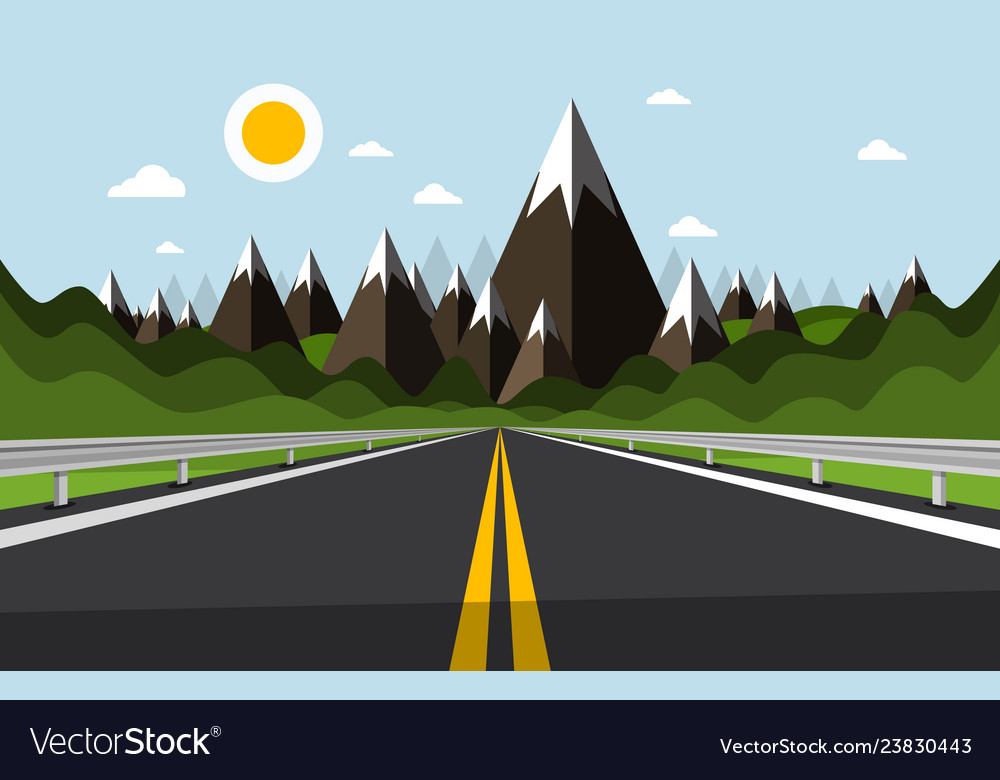 Empty road with mountains and hills on background