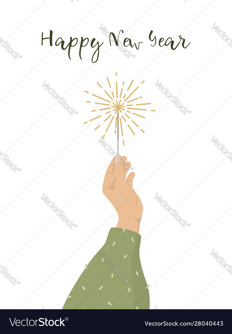 Happy new year greeting card womans hand holding