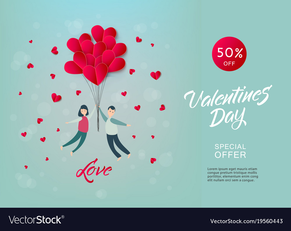 Happy Valentines Day Paper Heart Couple Royalty Free Vector