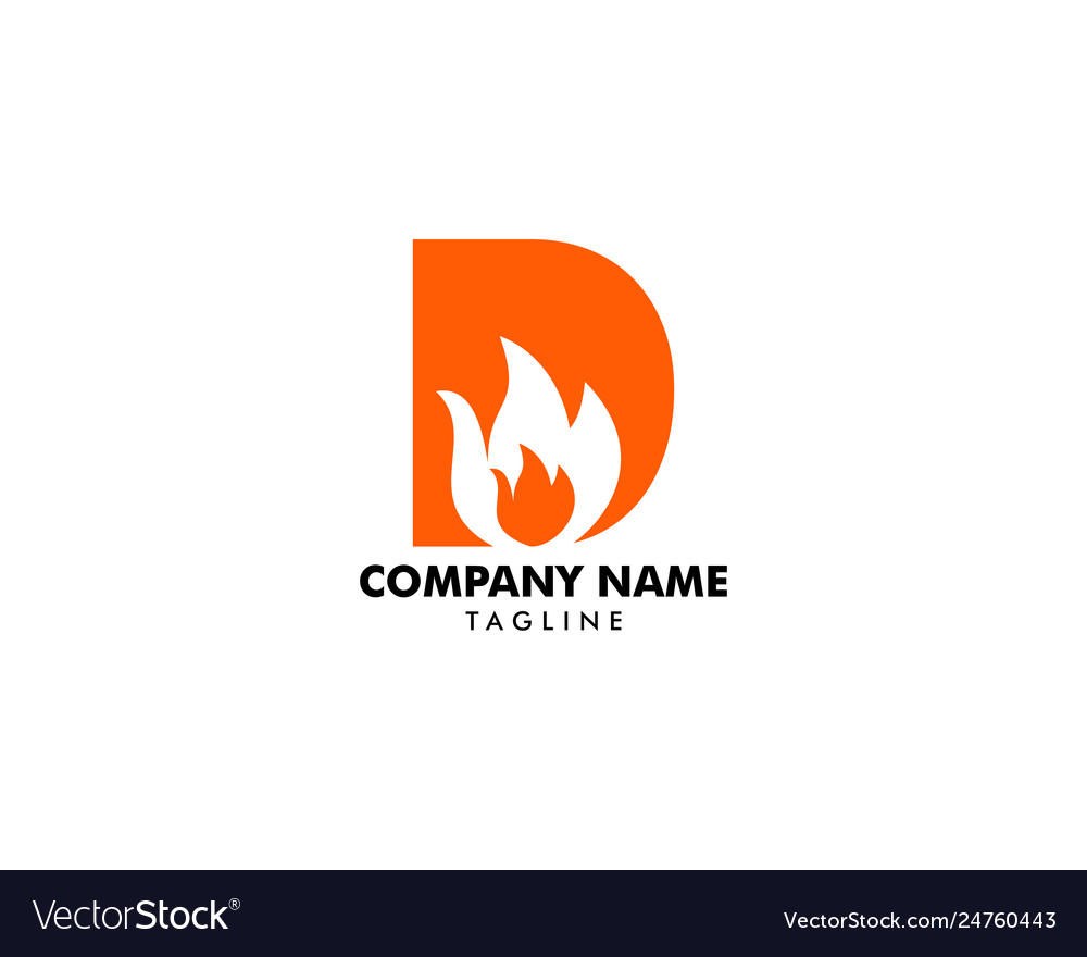 Letter d with flame fire logo design