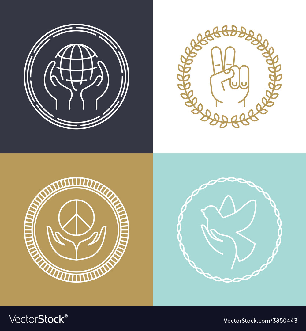 Line peace signs and logos