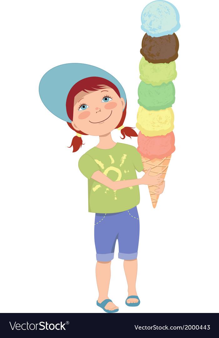 Little girl with ice cream