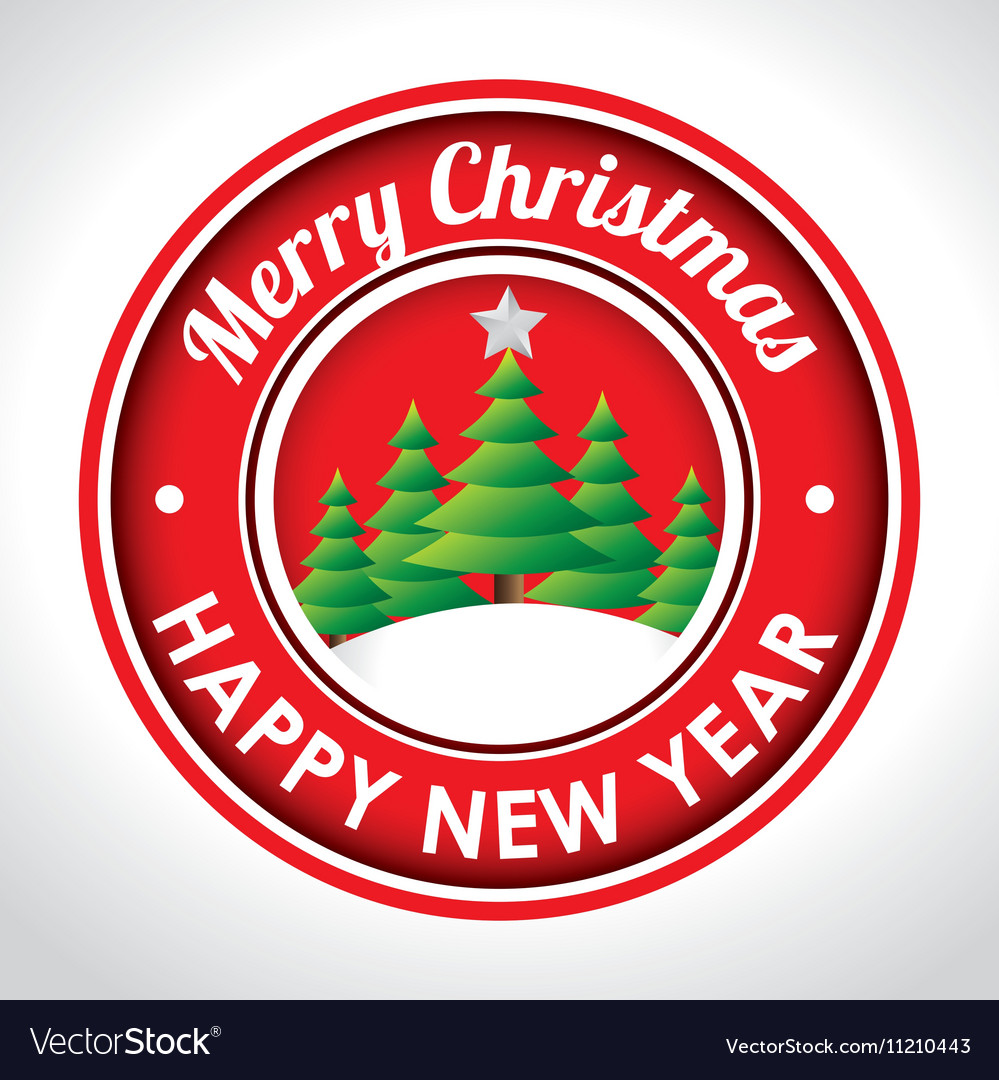 Merry christmas emblem happy new year tree and