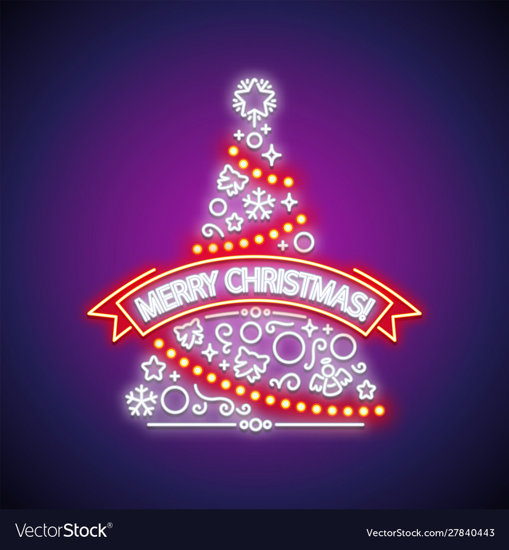 Merry christmas tree neon sign