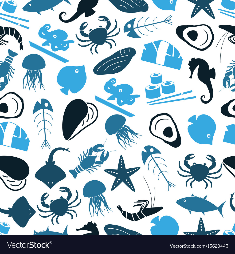 Seafood and fish food theme icons blue seamless
