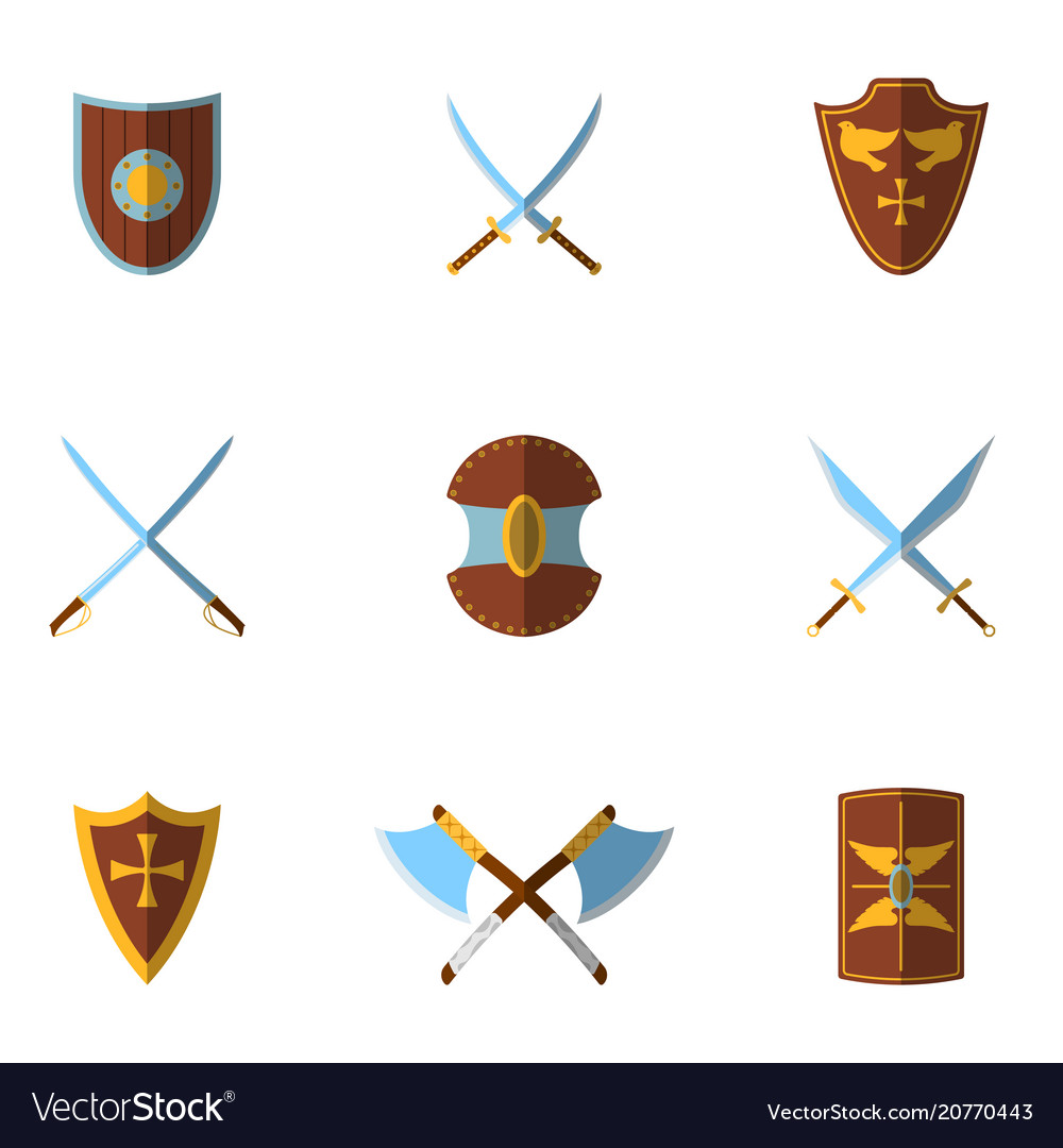 Set of medieval shield and weapon icon and label