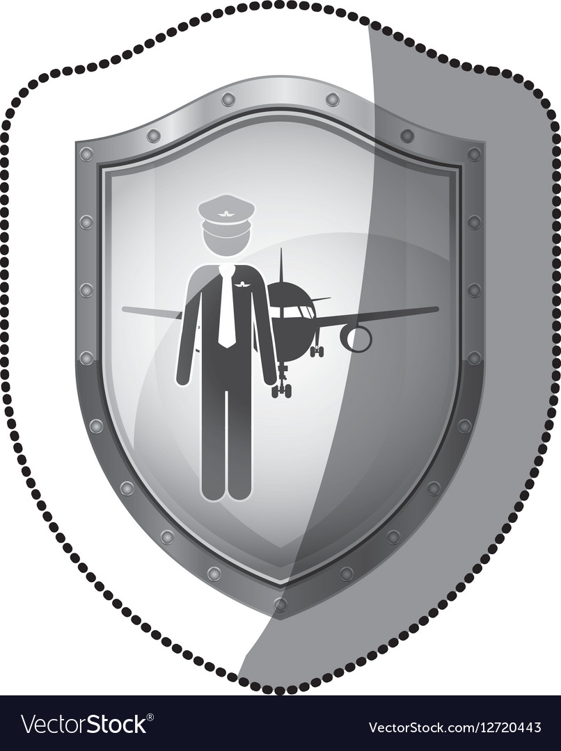 Sticker shield pilot with aeroplane vector image