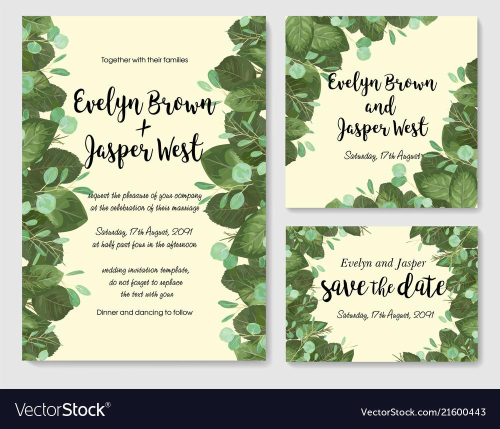 Wedding invitation frame set leaves branches