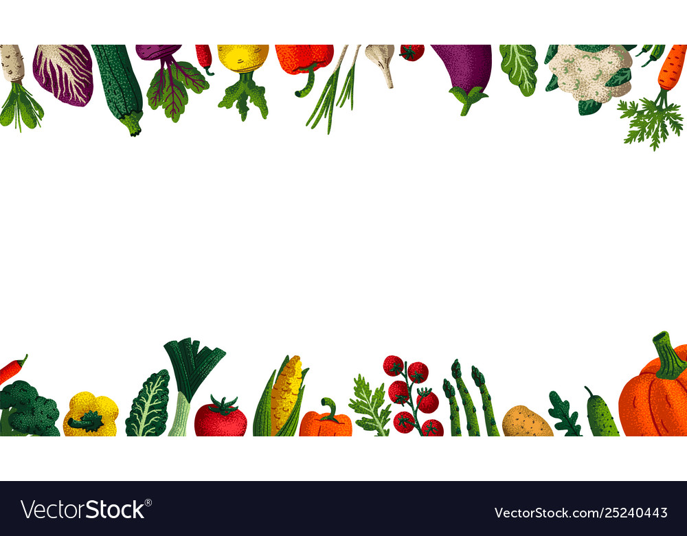 Wide Horizontal Healthy Eating Background Copy Vector Image