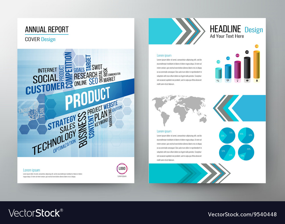 Annual report design template cover brochure