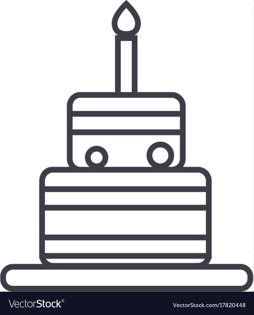 Birthday cake line icon sign
