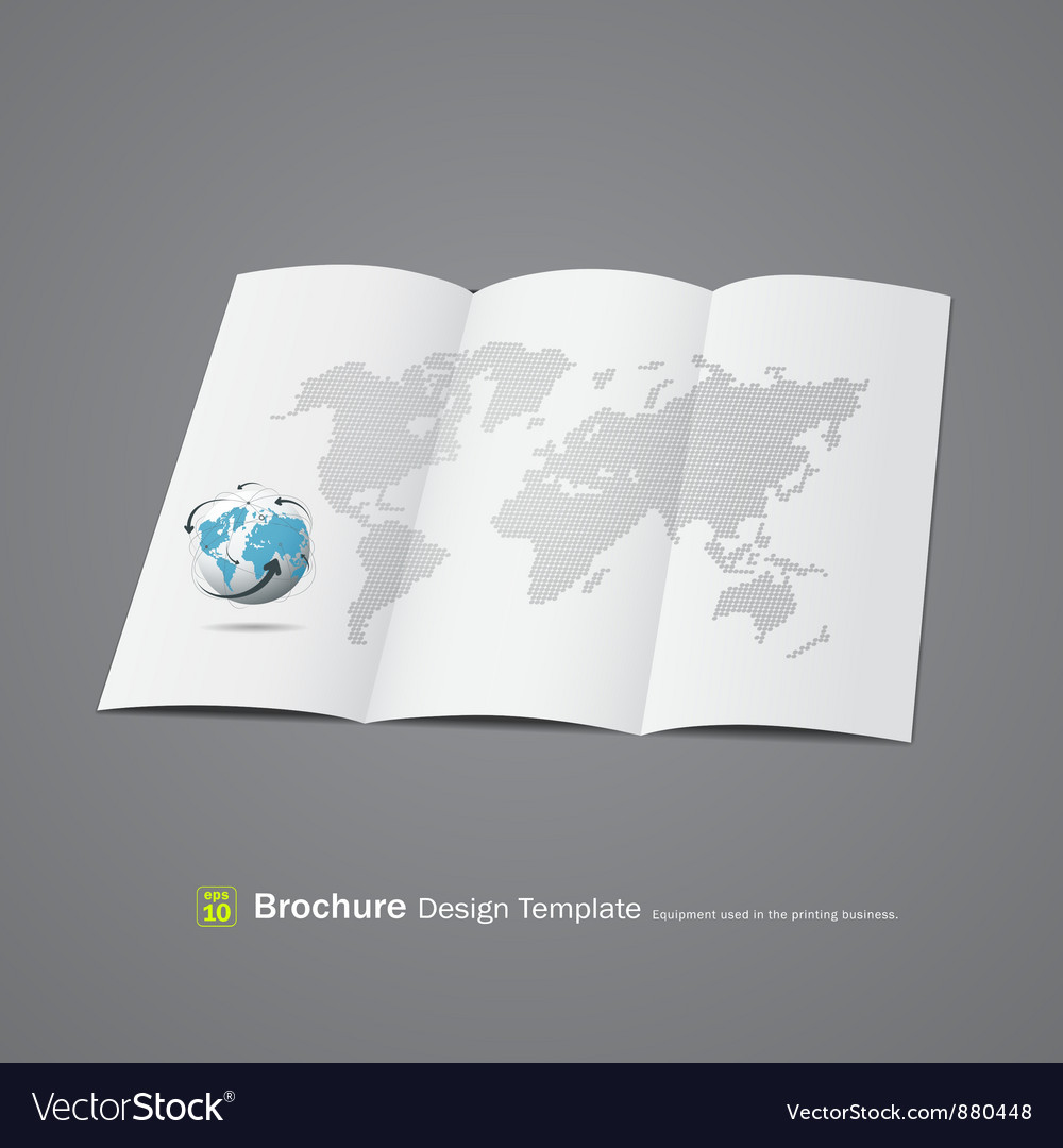 Brochure design with globe and world map vector image