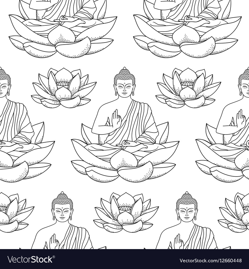 Buddha sitting on Lotus Seamless Pattern