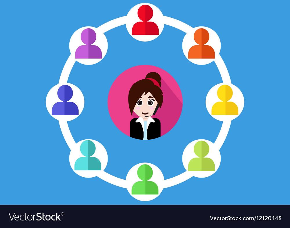 Call center customer support people cartoon design