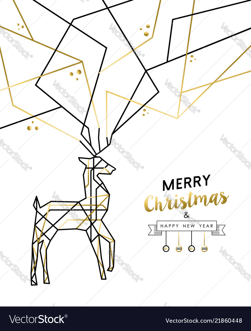 Christmas and new year abstract gold line deer