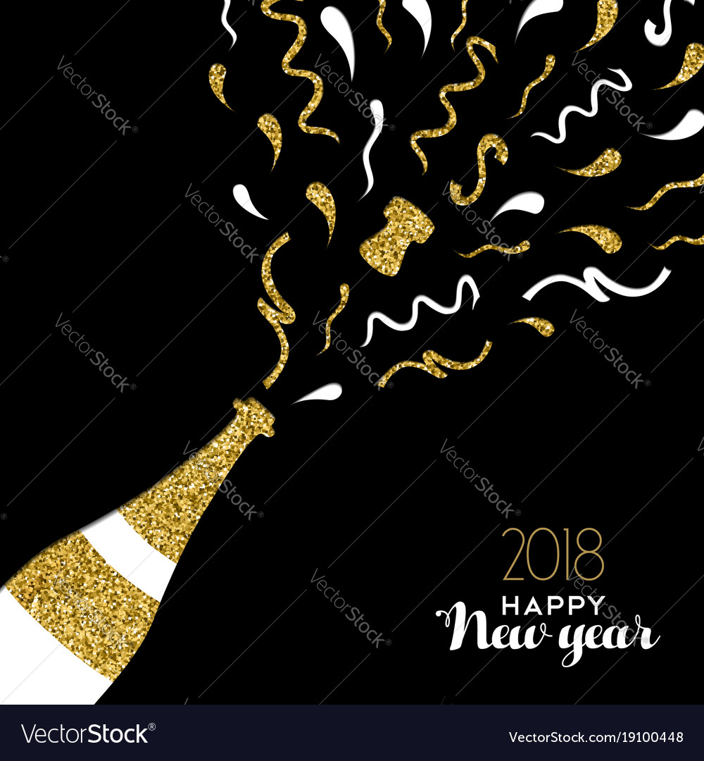 happy new year 2018 gold glitter party drink card vector image