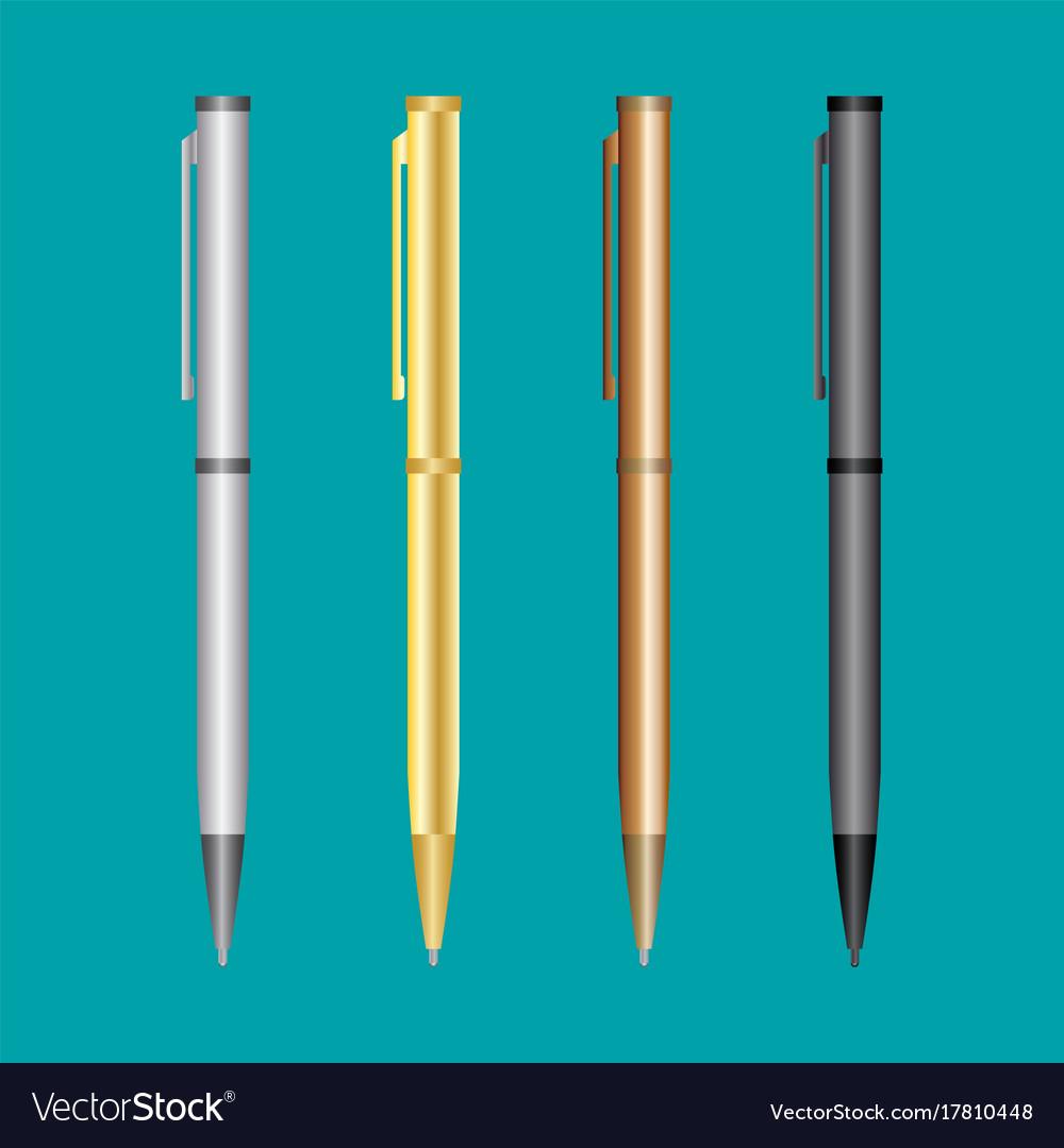 Metal pen set mockup realistic