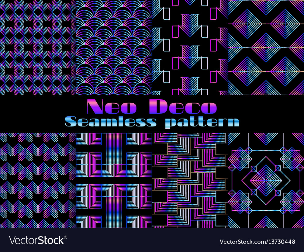 Neo deco seamless pattern neon gradient