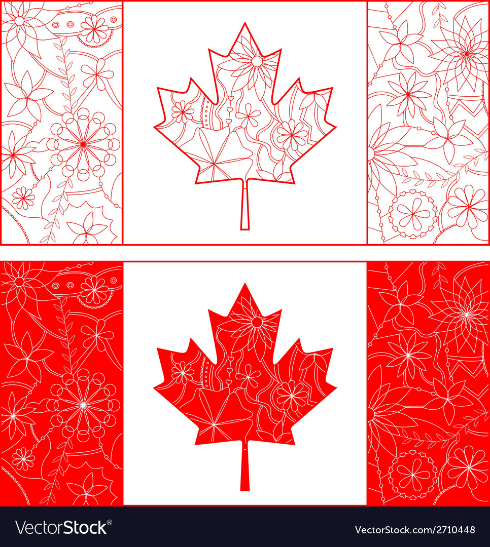 Outline of Canada flag vector image