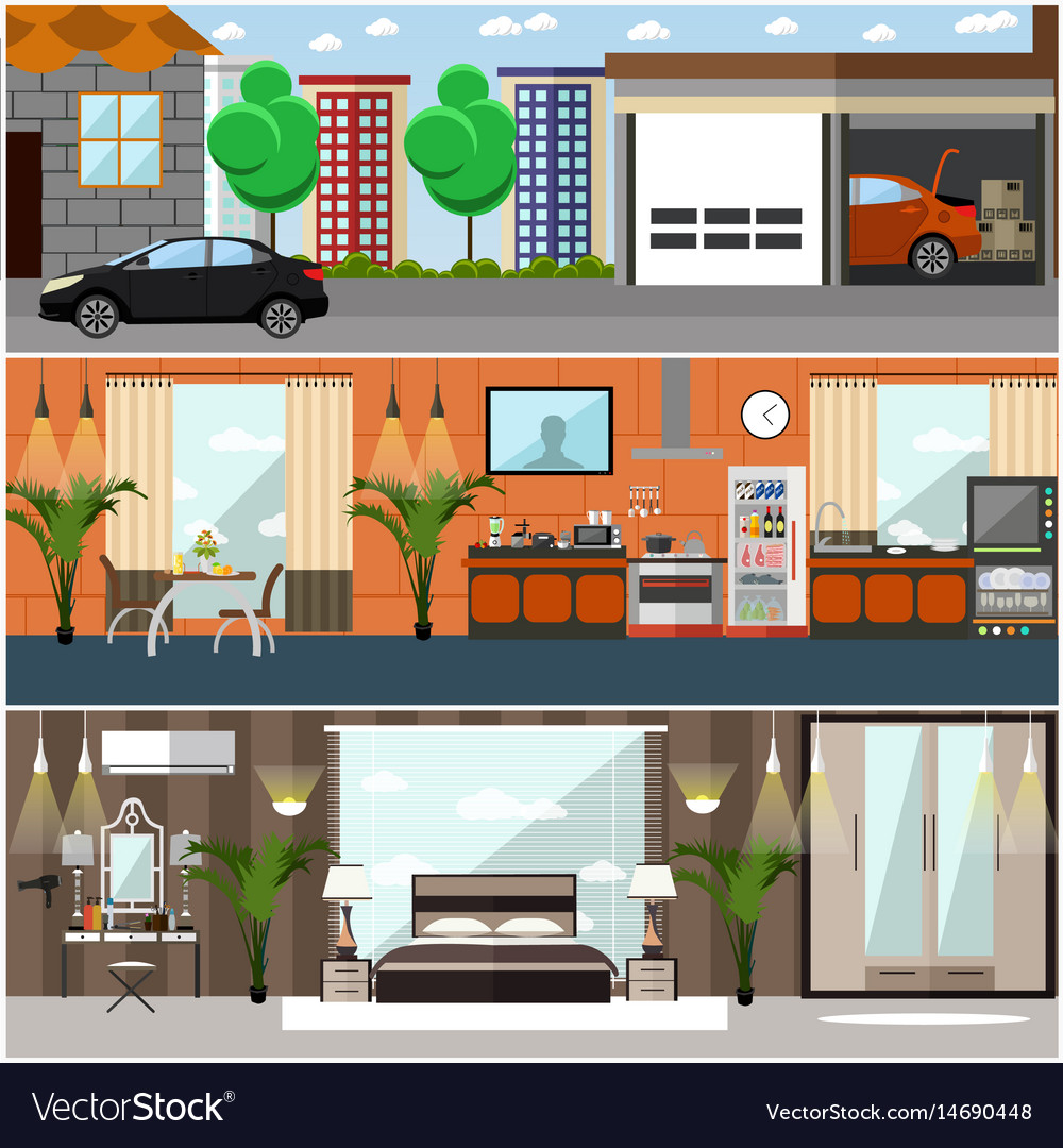 Set of house interior posters banners in