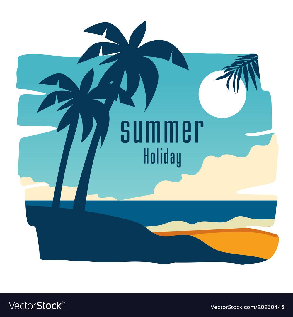 Summer holiday coconut tree blue sky background ve