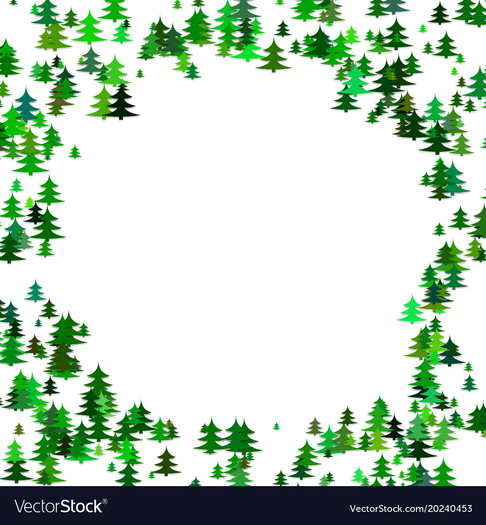 Abstract random pine tree pattern round border