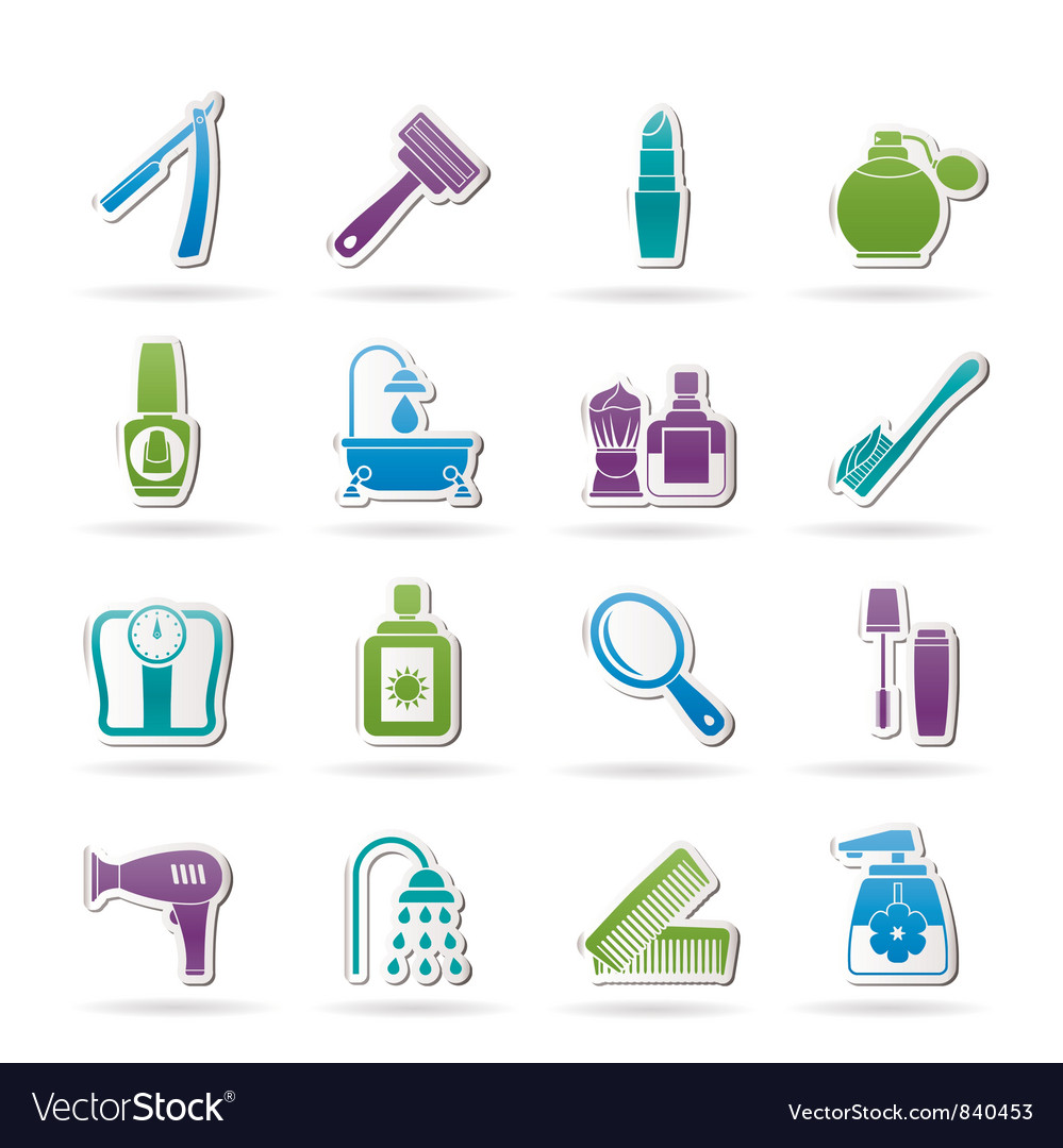 Body care and cosmetics icons vector