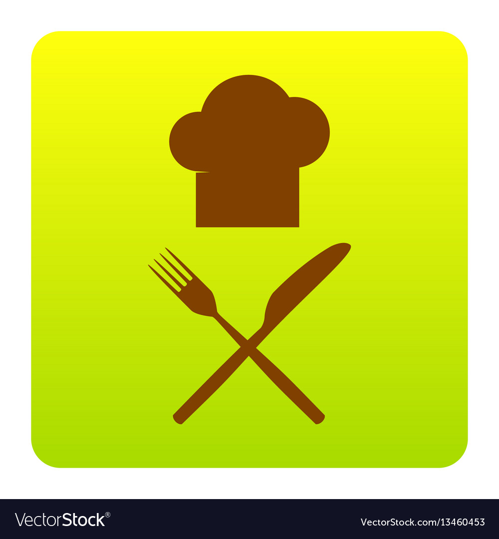 Chef with knife and fork sign brown icon