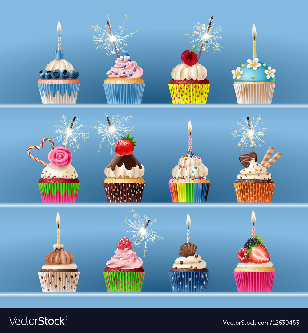 Collection of festive cupcakes with sparklers and