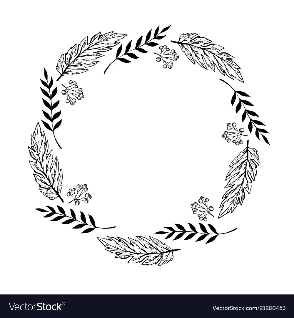Doodle monochrome berry and leaf circle frame