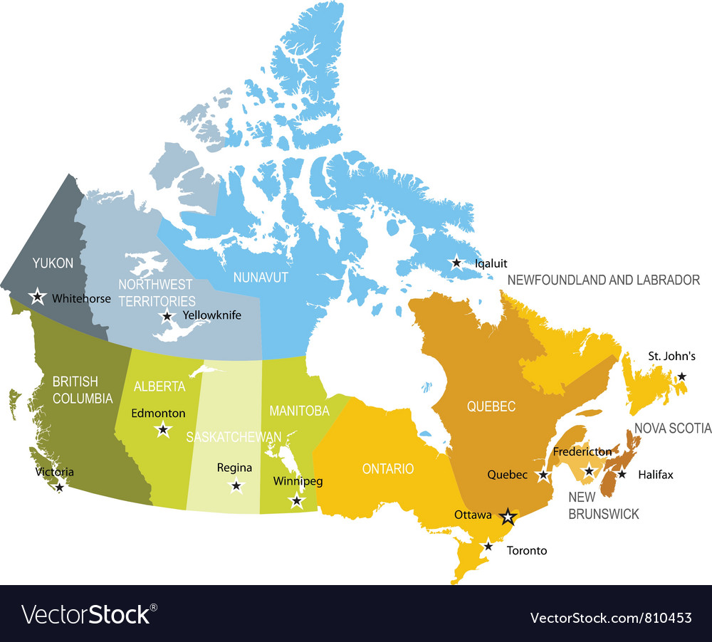 Canada Map Provinces Map provinces and territories canada Royalty Free Vector