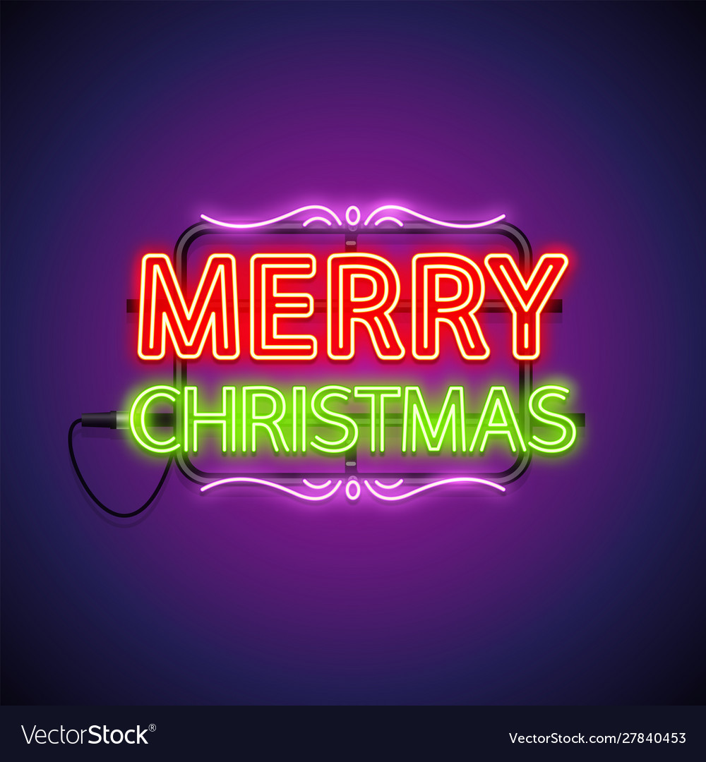 Merry christmas neon sign on purple