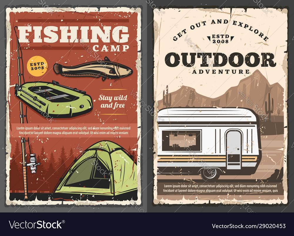 Outdoor adventure fishery sport camping van