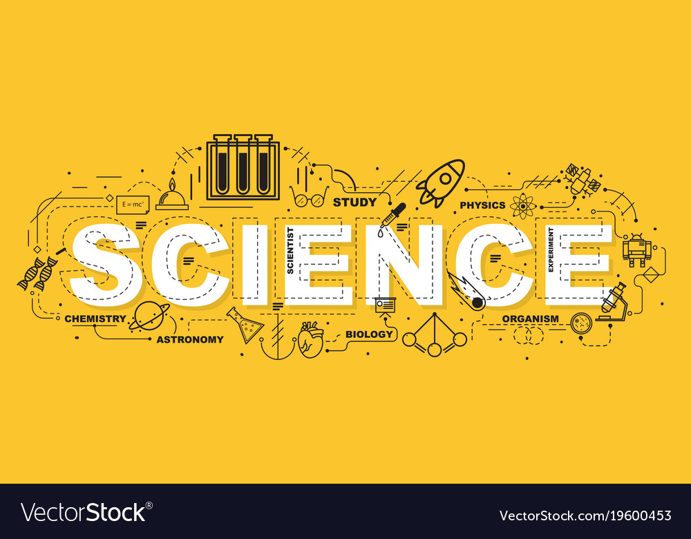Science word for education with icons flat design Vector Image