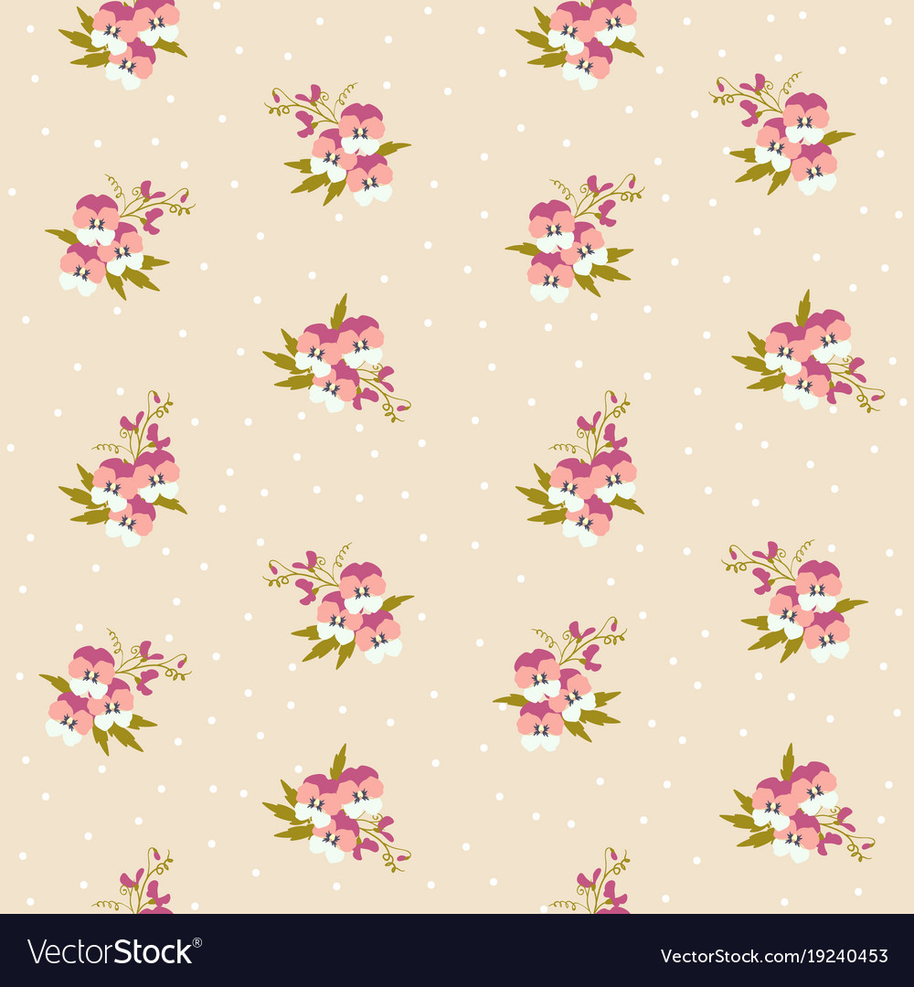 Small Tiny Pink Pansy Flowers Bouquets Scattered Vector Image