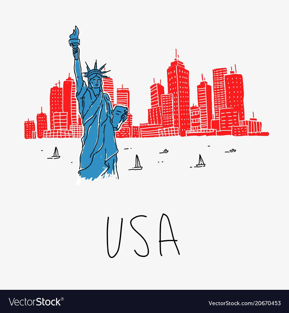Symbol america statue liberty