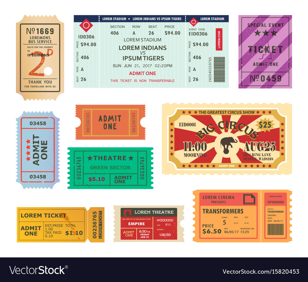 Vintage tickets paper coupons for circus cinema