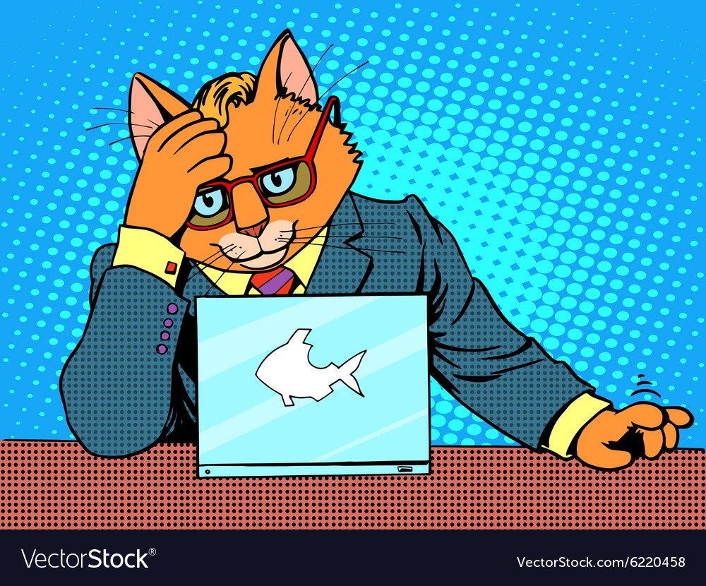 Business cat works for a laptop