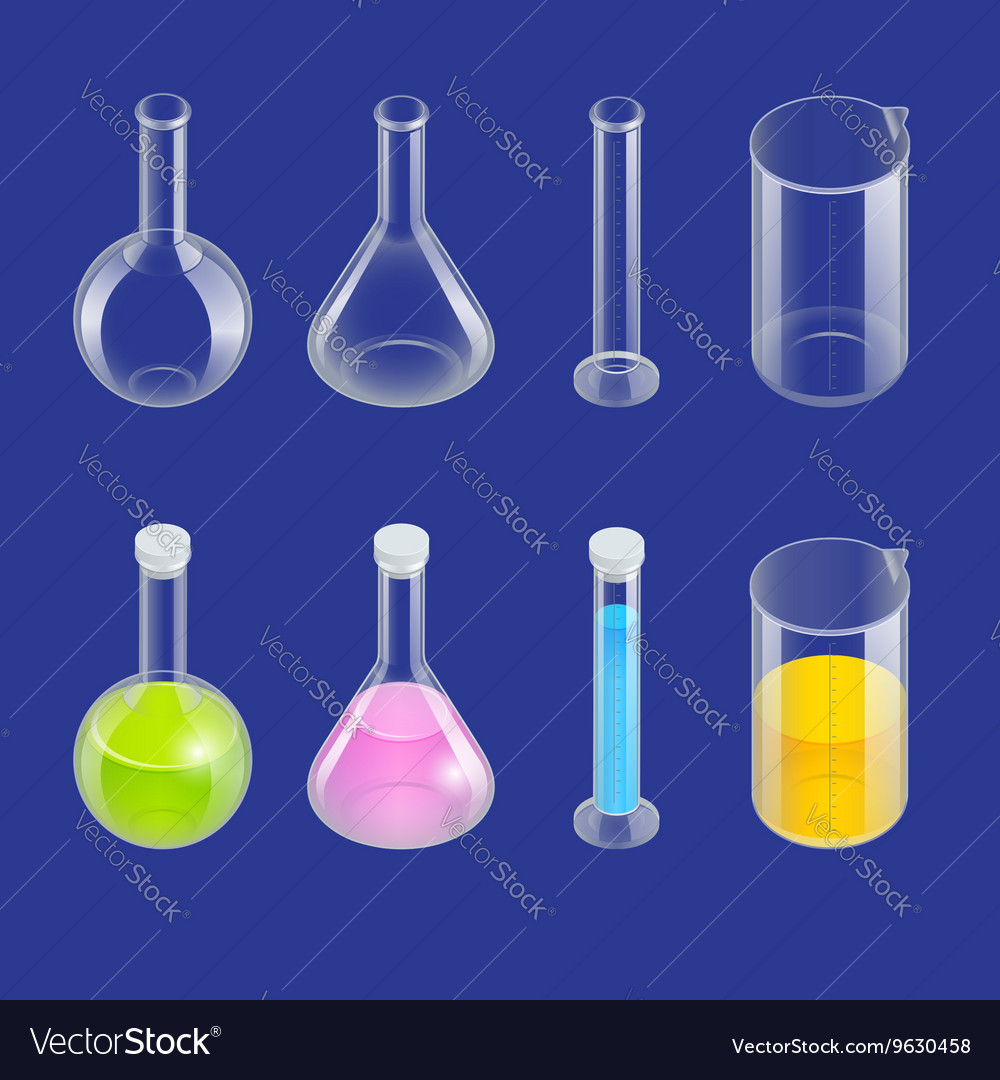 Chemical test tube pictogram icons set Erlenmeyer