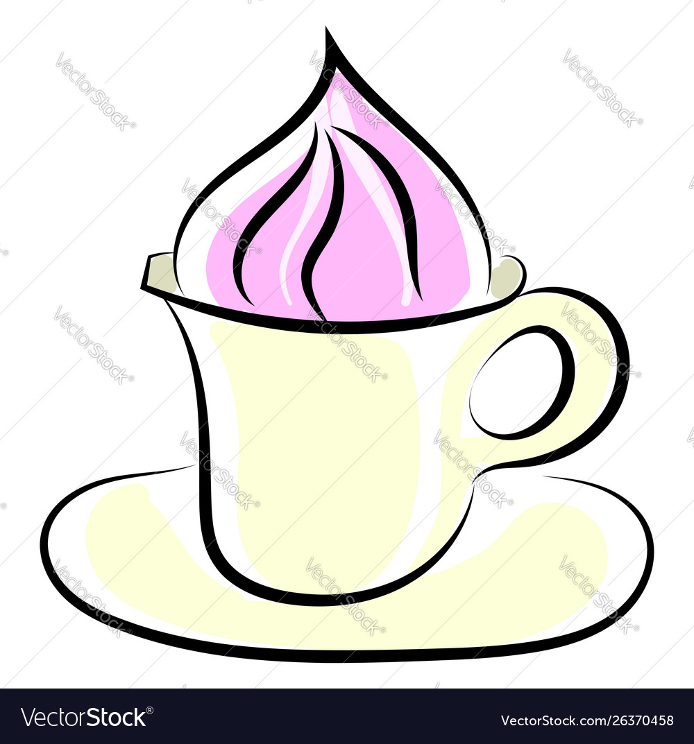 Coffee with cream on white background