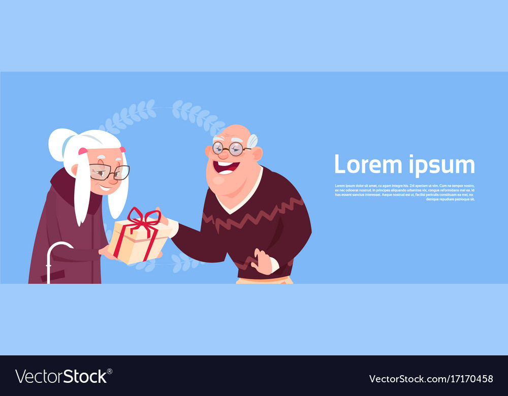 Couple senior people giving presents modern vector image