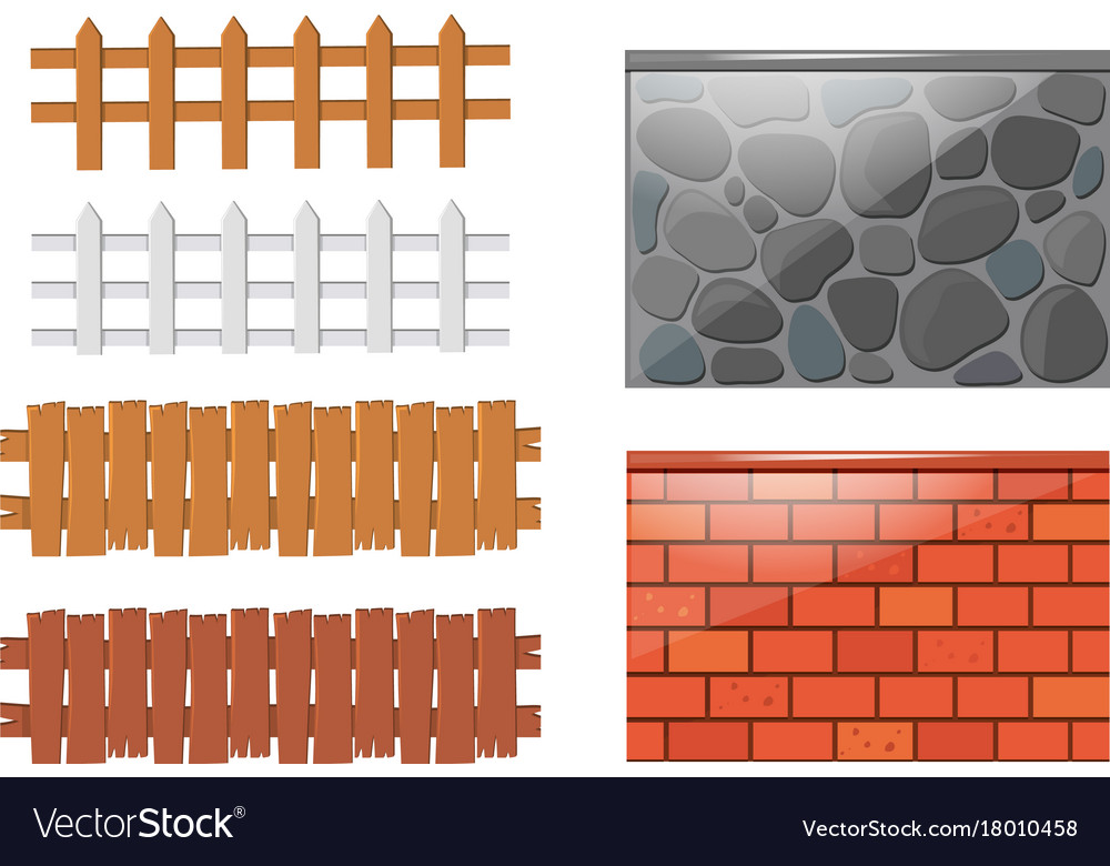 Different Designs Of Fences And Walls Royalty Free Vector