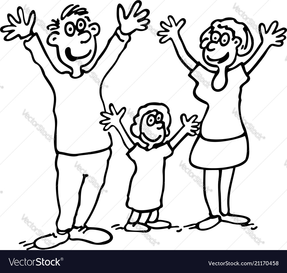 Doodle of happy family outlined cartoon drawing