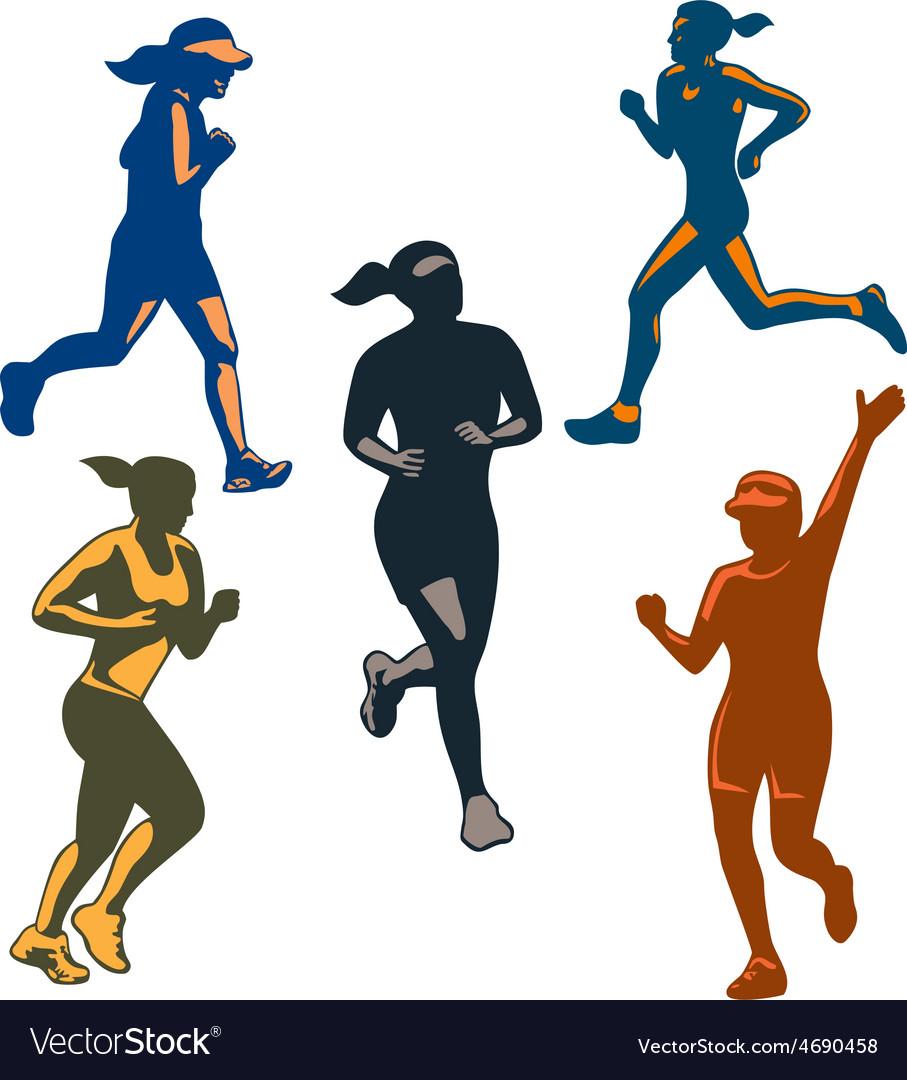 Female Marathon Runners Retro Set vector image