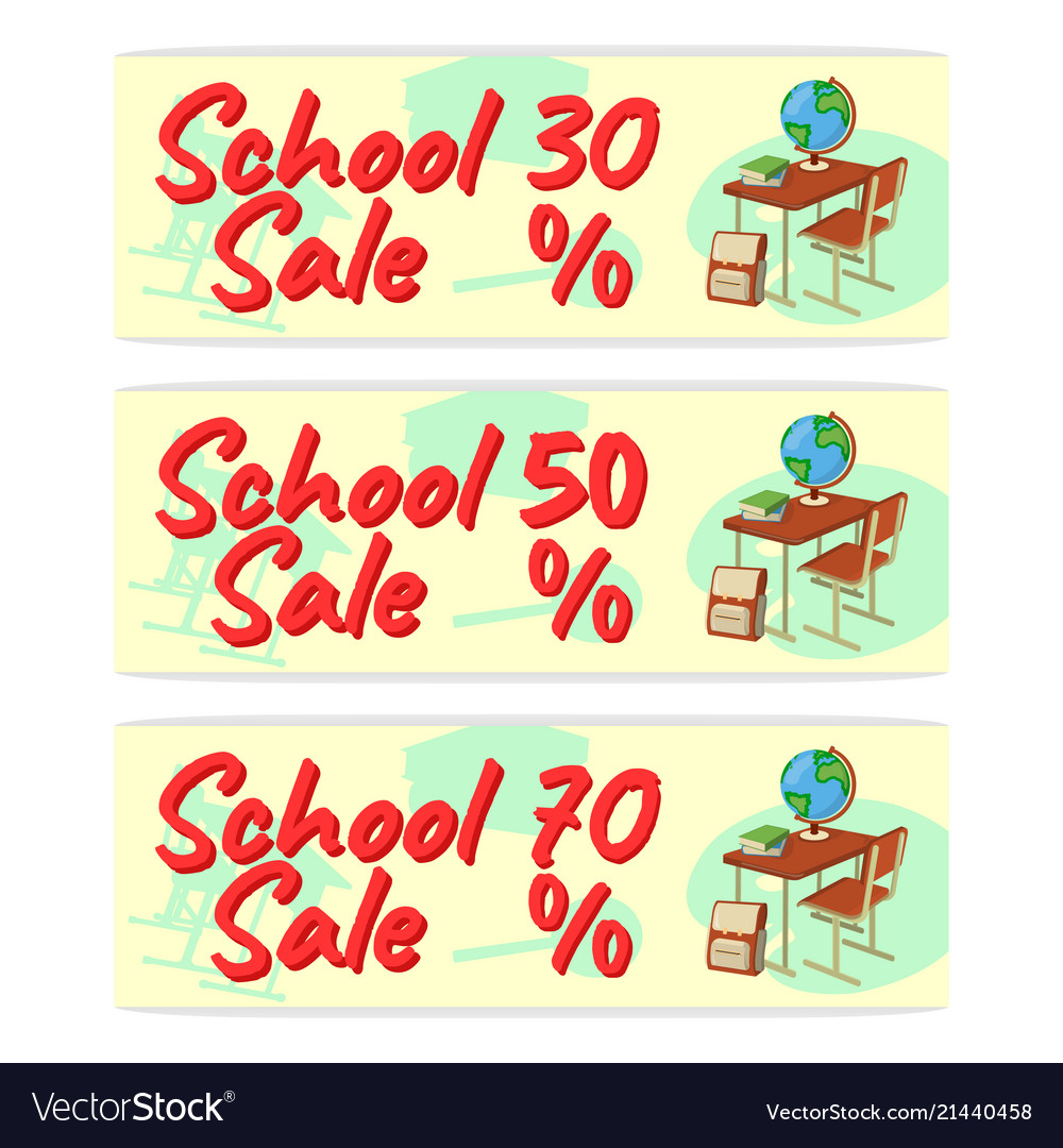 Sale school banner icon and logo isolated design